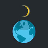 Solar eclipse with shadow on planet earth Royalty Free Stock Photography