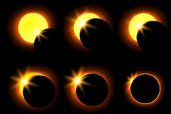 Solar eclipse in six different phases. Astronomical phenomenon of the closing of the shining sun by the moon. Stock Images