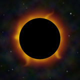 A solar eclipse with solar flares in space. Stock Photography