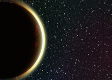 Solar eclipse on space stars backgrounds Stock Images