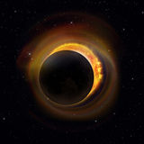 Solar Eclipse on Starry Sky Stock Images