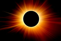 Solar eclipse. The sun rays background royalty free stock image