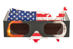 Solar Eclipse in USA concept, American map with solar eclipse gl. Asses Stock Photos
