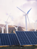 Solar Eco power and wind generators Stock Photo