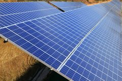 Solar electric plates green energy ecology. Solar plates green energy perspective ecology electric supply Royalty Free Stock Images