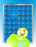 Solar electricity. Environment-friendly and building Stock Photo
