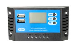 Solar Electricity Charger Control Unit. On a white background royalty free stock photos