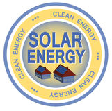 Solar Energy. An illustrated badge symbolizing clean solar energy Royalty Free Stock Images
