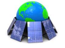 Solar energy. Abstract 3d illustration of solar panels around earth globe Stock Photography