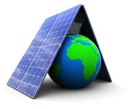 Solar energy. 3d illustration of earth protected by solar energy panels Royalty Free Stock Images
