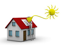 Solar energy. Man who installs a solar energy system on a house royalty free illustration