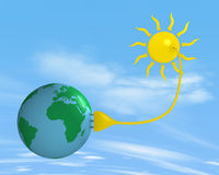 Solar energy. Sun with a plug that supplies power to the ground stock illustration