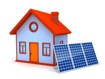 Solar energy. 3D image of Solar panels standing in front of a house Stock Photos