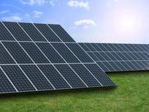 Solar energy. Panel in blue sky Stock Photo