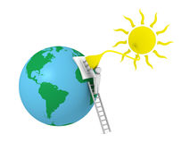 Solar energy. Sun with a plug that supplies power to the earth planet Royalty Free Stock Image
