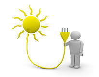 Solar energy. One 3d render of the sun with an electrical plug carried by a man vector illustration
