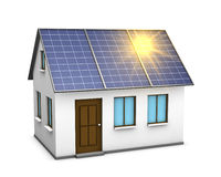 Solar energy. One 3d render of a house with solar panels on the roof and the sunlight reflecting on them Stock Photos