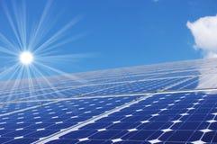 Solar energy. Panel, blue sky and sun Royalty Free Stock Photography