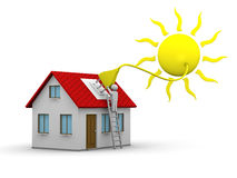 Solar energy. Man who installs a solar energy system on a house Royalty Free Stock Photography