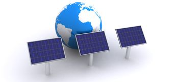 Solar energy. Panels and globe Stock Photography