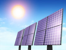 Solar energy. Alternative energy sources. Solar panels. Digital illustration royalty free illustration