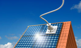 Solar Energy. 3D Illustration, solar panel with big plug Royalty Free Stock Images