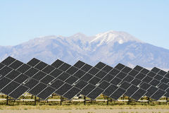 Solar Energy. An array of solar panels in Southern Colorado, USA. The Rocky Mountains form the backdrop for this array Royalty Free Stock Image