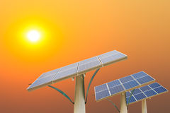 Solar Energy. Panels in the setting sun Stock Images