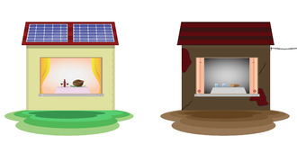 Solar energy. Solar cells on family home, illustrated how alternative energy affect on home budget. Vector saved as eps-10, file contains objects with Royalty Free Stock Photography