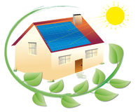 Solar energy. Illustration of a solar house surrounded by green leaves for an environmentally sustainable electric power and renewable Royalty Free Stock Photo