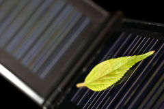 Solar energy. Green leaf on a small solar panel stock photography