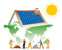 Solar energy. Workers building a house equipped with solar panels on the base map of the world Stock Photography