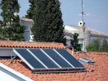 Solar energy. Cell on the house roof Royalty Free Stock Photos