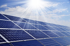Solar energy. Power plant using renewable solar energy with sun Stock Photography