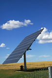 Solar energy. Solar renewable energy panel in blue sky stock photography