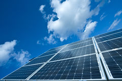 Solar Energy. Solar Panel Against Blue Sky, Power Energy Stock Photos