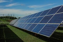 Solar energy with blue sky, Solar panel is a clean and energy fo Stock Image