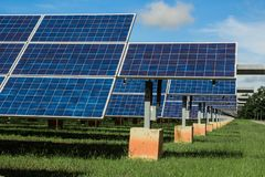 Solar energy with blue sky, Solar panel is a clean and energy for free use royalty free stock photo