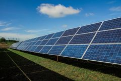 Solar energy with blue sky, Solar panel is a clean and energy fo. R free use Stock Photography