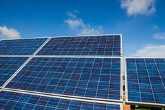 Solar energy with blue sky, Solar panel is a clean and energy fo Royalty Free Stock Images