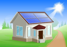 Solar energy. Caring about environment. House with solar panels on roof. Alternative energy sources Royalty Free Stock Photos
