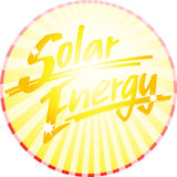 Solar energy circle handwritten. Button with sunbeams and the handwritten word SOLAR ENERGY Stock Images