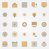 Solar energy colorful icons. Vector creative sun and solar panels symbols or design elements Stock Photo