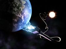 Solar Energy Concept. With sun plugging into earth Stock Photo