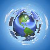 Solar energy concept. 3D concept with earth and solar panels royalty free illustration