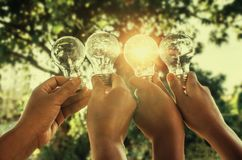 Solar energy concept hand group holding light bulb. In nature Stock Image
