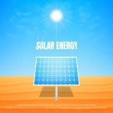 Solar energy concept. Solar panel under the sun on the desert. Alternative energy illustration Royalty Free Stock Photos