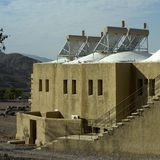 Solar energy in desert stock photos