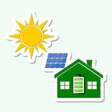 Solar energy design. Sun, panel and house stock illustration