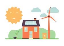 Solar energy, eco house, windmills, sort garbage stock illustration